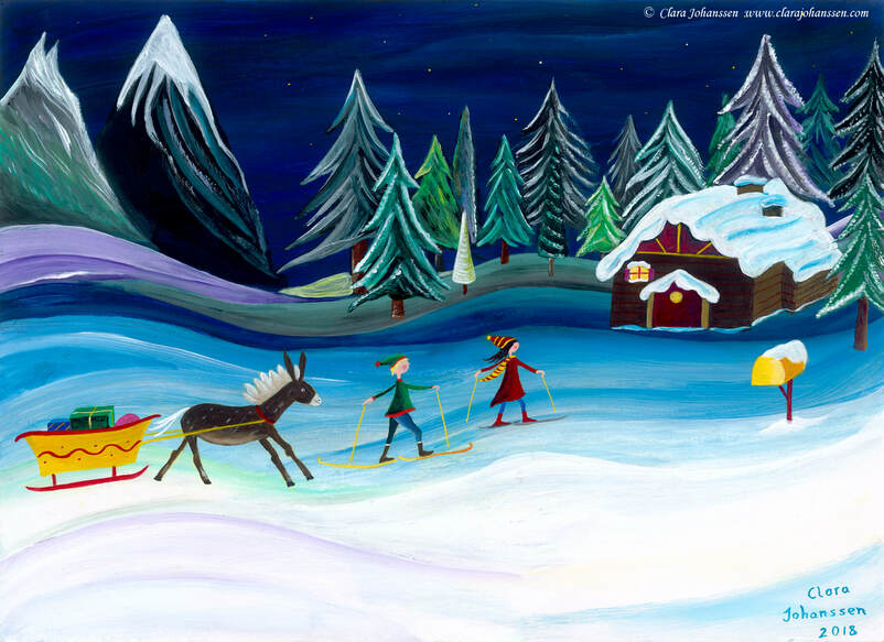 An acrylic naive painting of a winter snow scene in mountains in which two children and a donkey pulling a cart full of Christmas presents come home to their cosy log cabin
