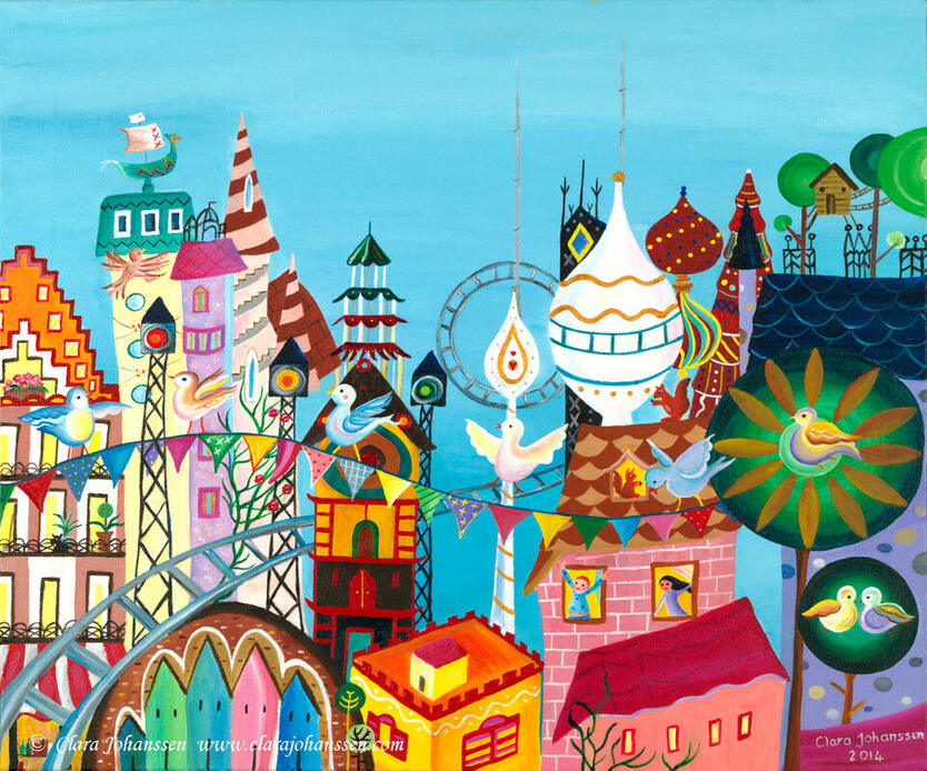 Dawn Chorus by Clara Johanssen Contemporary Naive Art. A fantasy naive painting of a rooftop city scene full of towers and spires, where birds sit in trees and a rollercoaster swirls through the sky.