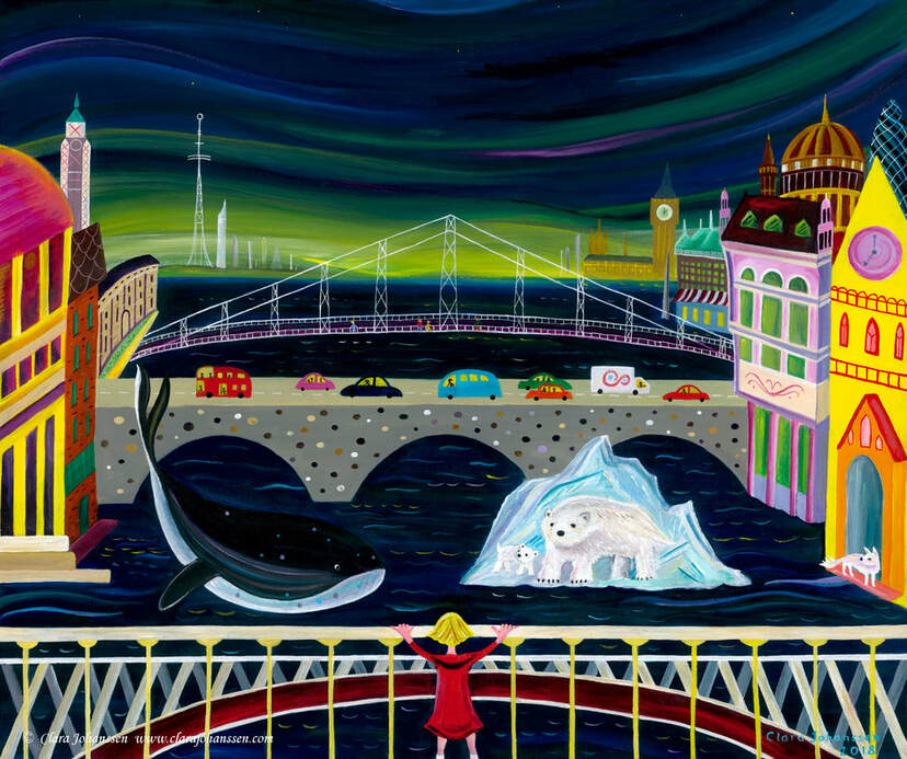 'Aurora' - An acrylic fantasy painting of the Northern Lights above London with a little girl in a red coat, a polar bear and whale under Blackfriars Bridge and St Paul's cathedral. Intended to explore environmental themes of global warming in a whimsical way.